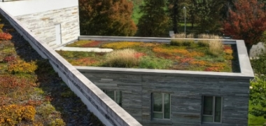 A green roof or living roof is a roof of a building that is partially or completely covered with vegetation and a growing medium, planted over a waterproofing membrane
